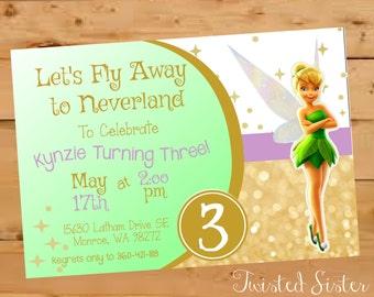 Tinkerbell Birthday, Tinkerbell Birthday Invitation, Tinkerbell Birthday Invite, Tinkerbell Invite, Neverland Fairy, Gold Glitter Pixie Dust