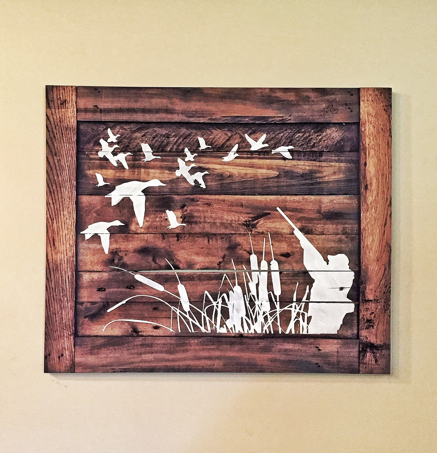 Duck hunting wood sign hunters home decor for Wooden art home decorations