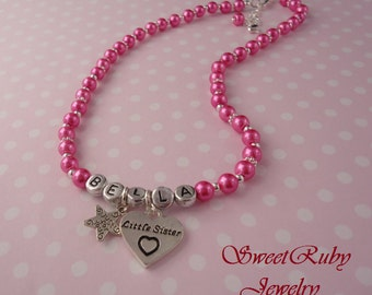 Personalized Big Sister/Little Sister Necklace  - Girls/kids/Children - Custom Design Available