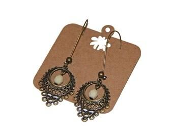 Boho Earrings, Vintage Earrings, Hippie Earrings, Dangle Earrings, Beaded Earrings, Turquoise Earrings, Green Earrings, Cream Earrings