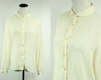 70's Ivory Floral Lace Edwardian Blouse