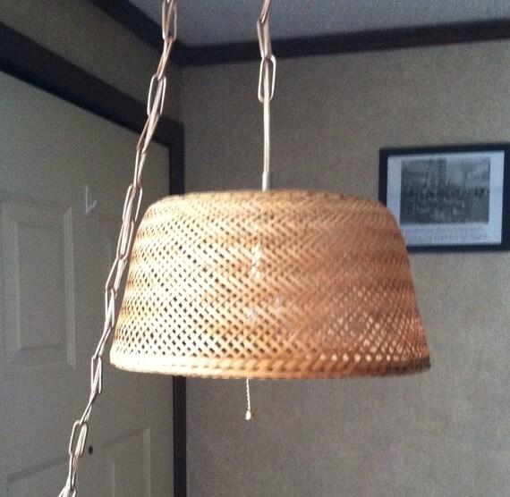 Wicker Basket Hanging Lamp/ Basket Lamp/ Chain Lamp/ By