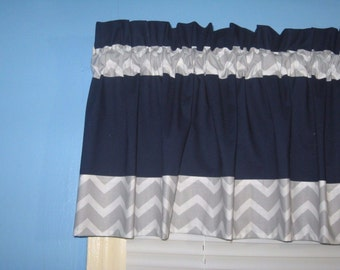 LINED Handmade 100% Cotton NAVY with Gray White Chevron TRIM Window Curtain Valance Topper