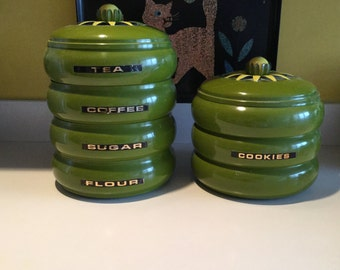 Mid century, Lincoln Beauty Ware metal green canisters with yellow flower knob, SUGAR, FLOUR, TEA, Coffee, Excellent Condition !!!