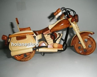 Hand carved Wood Art Model Motorcycle HARLEY DAVIDSON - Christmas Gift