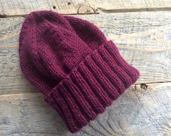 Womens winter hat handknit with burgundy wool, men's beanie