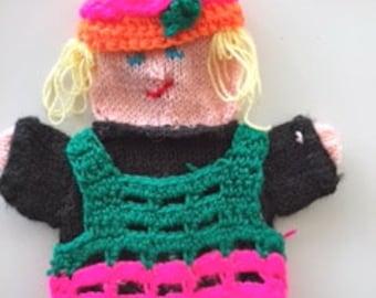 puppet little girl, handmade, knitted girl with long hair, handdoll girl,