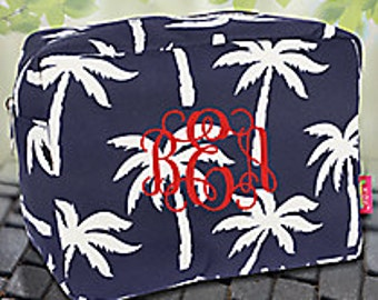 Monogrammed palm tree cosmetic case!!