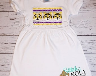 Faux Smocked Tiger Dress