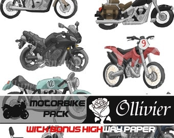 Motorcycle clip art-Different color bikes/motorcycles-14 motorcycles with a highway digital paper gift-scrapbooking, cards, invites and more