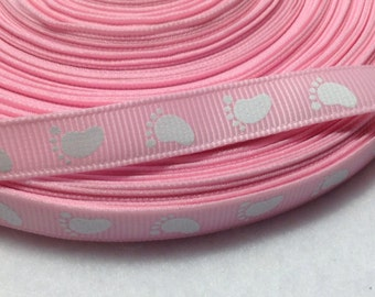 """4 Yards 3/8"""" Baby Pink with Baby Feet Grosgrain Ribbon"""