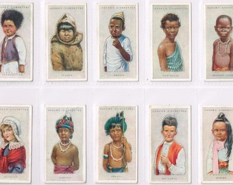 British Cigarette Card Set (50 Cards) - Children Of All Nations  Issued In 1924 by Ogdens Cigarettes. Portraits of Children In Costume