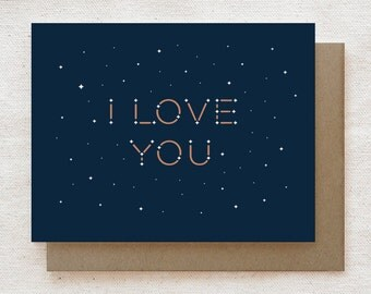 Valentine Card, Anniversary, Love, Friendship Card - I Love You Constellation
