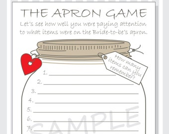 Bridal Shower - The Apron Game Printable Cards DIY - Rustic Mason Jar Design - red, purple and pink hearts