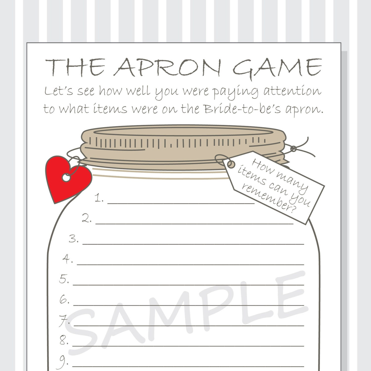 White lace apron wedding - Bridal Shower The Apron Game Printable Cards Diy Rustic Mason Jar Design Red Purple And Pink Hearts