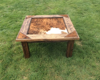 Cowhide Coffee Table with glass top & nailheads / western coffee table