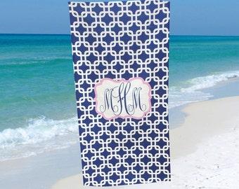 Monogrammed Beach Towel Custom Beach Towel Personalized with Name or Monogram Monogrammed Bridesmaid Gift Graduation Gift Birthday Gift