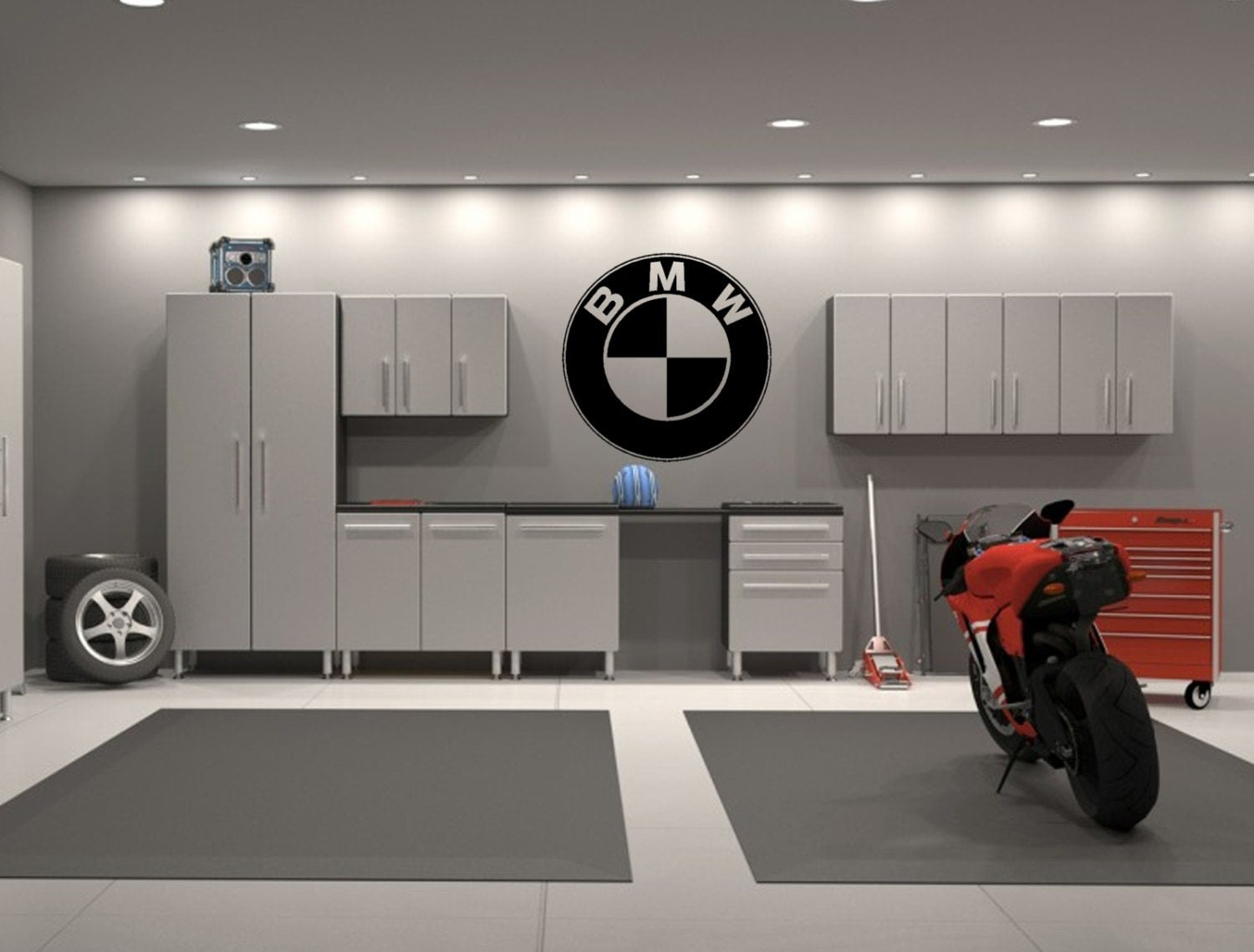 bmw emblem garage interior wall decal sticker. Black Bedroom Furniture Sets. Home Design Ideas