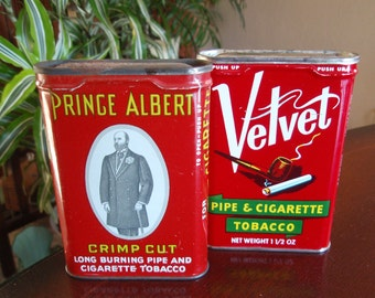Lot of 2 tobacco tins Velvet and Prince Albert  Collectible Tins Pipe Cigarette La1697