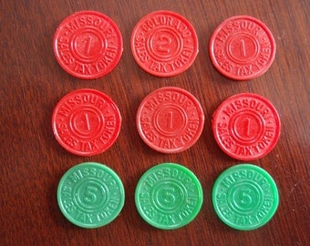 Lot of 9 Plastic Sales Tax Tokens 1930's Red and Green Missouri 1 Cent 5 cents Colorado 2 Cents Collectible Tokens a2143