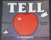 Original Vintage Tell Brand Apple Fruit Crate Label Yakima Washington 1940s Great Kitchen Art. Looks Great Framed....