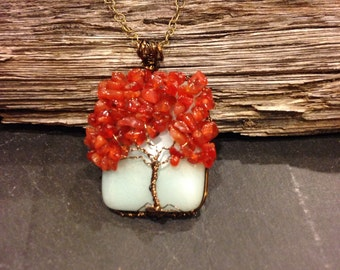 Tree of Life Necklace - Carnelian and Amazonite