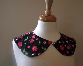 Detachable Peter Pan Collar Polkadot Cherries Cherry Print Retro Pinup Pin Up Rockabilly 50's Black Red Pink Green