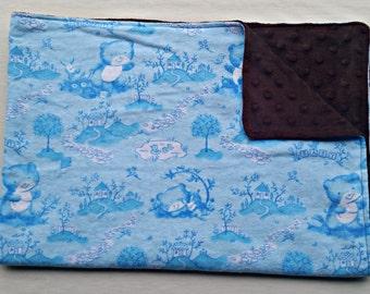 Blue Teddies Flannel and Brown Minky Baby Blanket