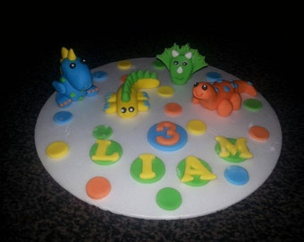 Edible dinosaur birthday* celebration cake topper (4 included)* personalised* any colours*