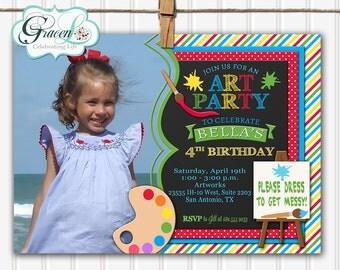 Art Party Invitation, Art Birthday Party Invitation, Painting Party Invitation, Art Painting Party Invitation, Pottery Paint Invitation