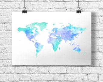 Watercolor World Map (blue)