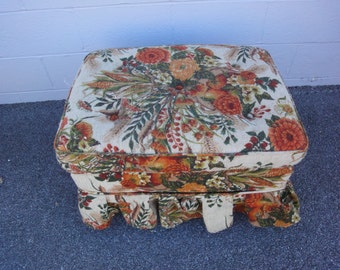 Vintage Foot Stool/Vintage Furniture/Vintage Skirted Ottoman/Vintage 70's Ottoman