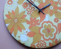 """Retro Orange, Yellow, White Flowers Vintage Floral Fabric 12"""" Wall Clock by Lewisian Nice"""