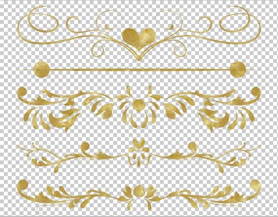 Clip Art GOLD Digital Border Flourish Swirl Border by ...