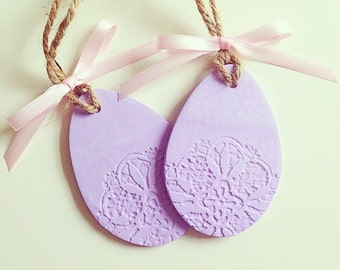 Easter Egg Decorations, Clay Decorarions, Set of 2