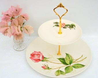 Beautiful vintage 2 tier cake/cupcake stand,Dessert,Appetizer Stand.Shabby /Cottage Roses Tiered Cake Stand.Tea party,Bridal Shower,Wedding