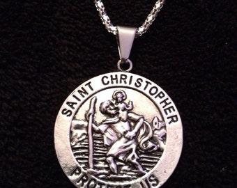 80p UK P&P Saint Christopher Necklace pendant 22inch chain silver St. Christopher charm double sided patron saint protection travel god reli
