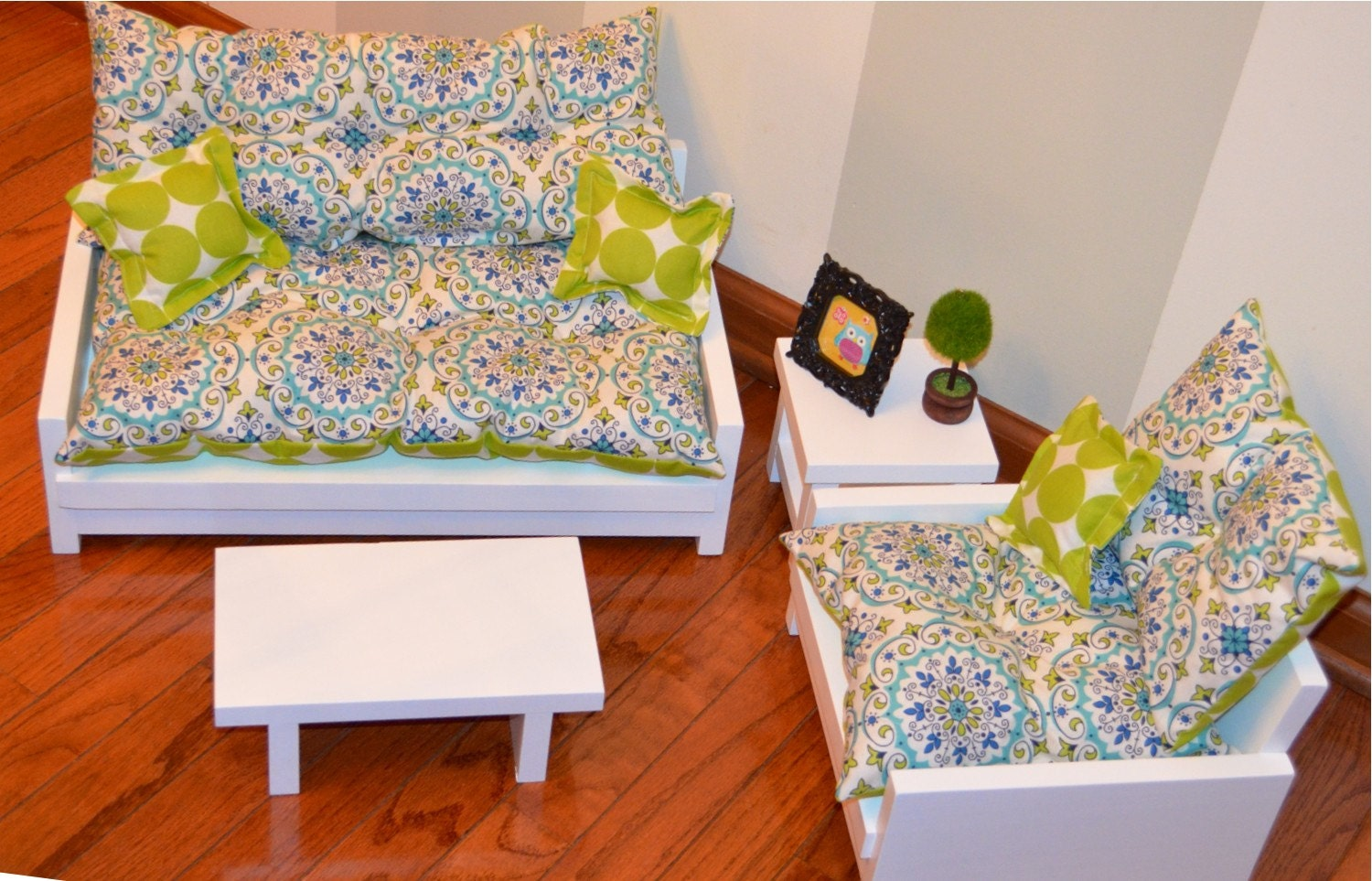 Pc living room set for american girl doll by getdolledupdesigns