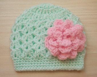 Mint green baby hat Newborn green hat Newborn girl hat Baby girl outfit Baby girl hat Girl hospital hat Crochet baby beanie