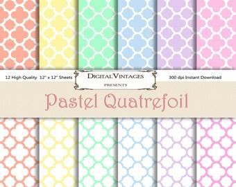 Pastel Digital Paper, Quatrefoil Digital Paper, Pattern Digital Paper, Patterned Digital Paper, shabby chic digital paper, pastel quatrefoil