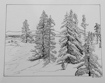 Winter scene designed with pen and ink illustrations that have been turned in to note cards