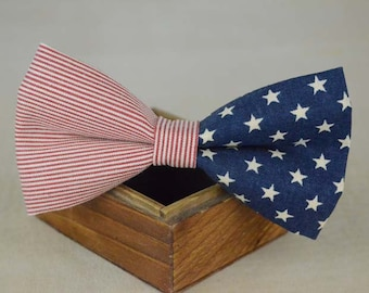 handmade blue stars and stripes bow tie,men's bow tie, men bow tie, bow tie for men, bow tie men, wedding bow tie, groomsmen bow tie