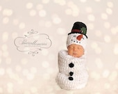 Newborn Baby Snowman Hat and Sack Set, MADE TO ORDER