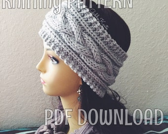 KNITTING PATTERN Cable Headband Ear Warmer Easy Beginner Knit Headband Instant Delivery Digital File PDF