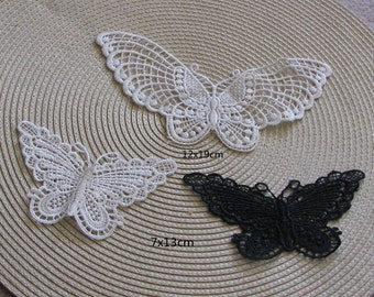 6pcs/lot off white black   butterfly lace patch applique    sewing  patch