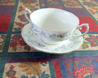 Vintage Royal Albert Silver Maple Cream Soup Bowl and Saucer Two Handled WORLD WIDE SHIPPING