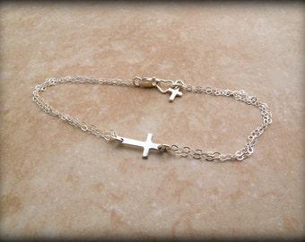 Sideways cross bracelet, Sterling silver cross bracelet