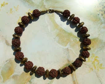 Rudraksh beads old brass bronze necklace chain necklace