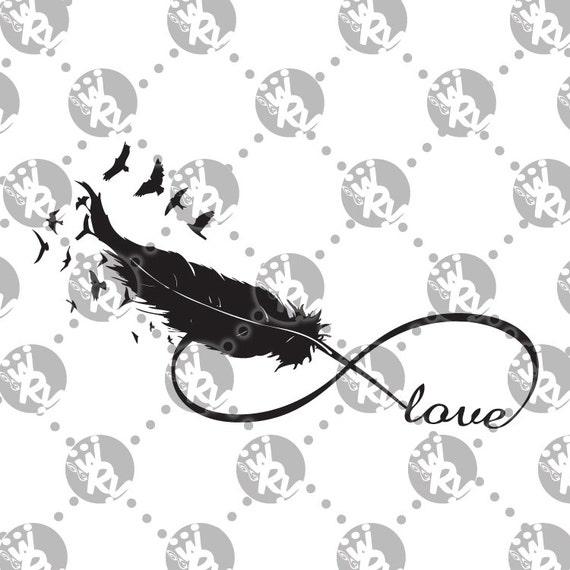 articles similaires amour infini plume tatouage oiseaux inspir esprit sur etsy. Black Bedroom Furniture Sets. Home Design Ideas