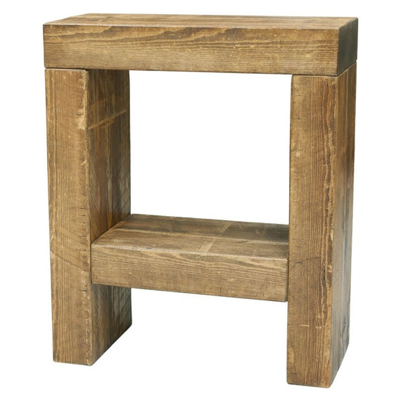 Handmade chunky wooden bedside end table with a choice of for Funky bedside tables